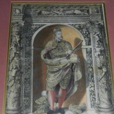 Arte: (M) ANTIGUO GRABADO COLOREADO A MANO S. XVI - XVII - MILITAR ESCRITO EN TINTA - CAROLUS QUINTUS ROMA. Lote 218400815
