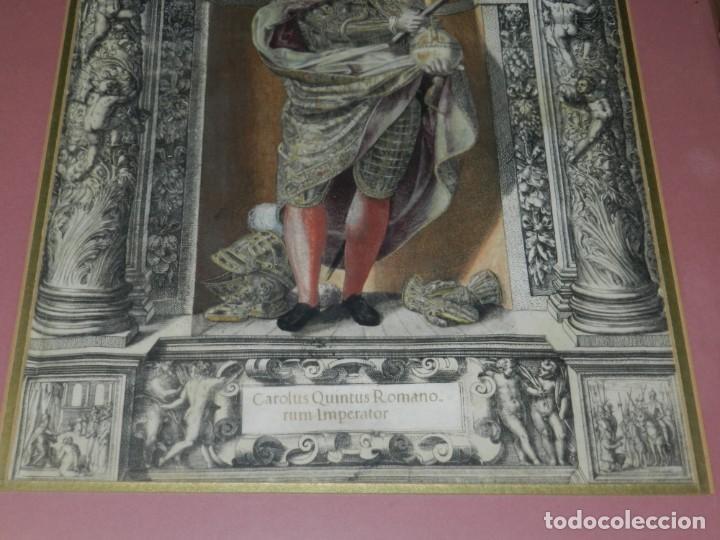 Arte: (M) ANTIGUO GRABADO COLOREADO A MANO S. XVI - XVII - MILITAR ESCRITO EN TINTA - CAROLUS QUINTUS ROMA - Foto 2 - 218400815