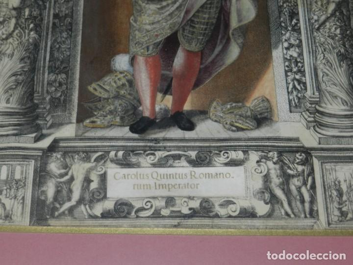 Arte: (M) ANTIGUO GRABADO COLOREADO A MANO S. XVI - XVII - MILITAR ESCRITO EN TINTA - CAROLUS QUINTUS ROMA - Foto 3 - 218400815