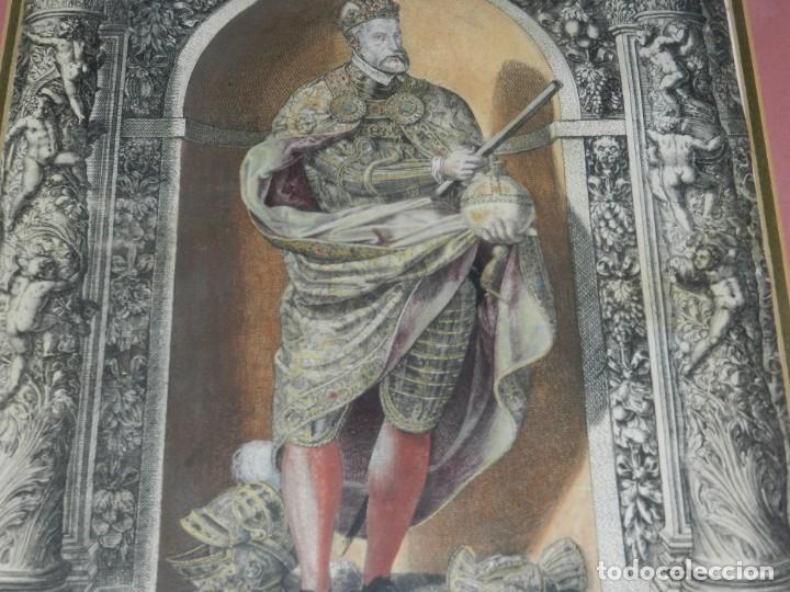 Arte: (M) ANTIGUO GRABADO COLOREADO A MANO S. XVI - XVII - MILITAR ESCRITO EN TINTA - CAROLUS QUINTUS ROMA - Foto 4 - 218400815