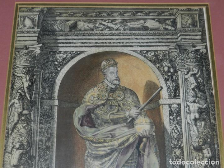 Arte: (M) ANTIGUO GRABADO COLOREADO A MANO S. XVI - XVII - MILITAR ESCRITO EN TINTA - CAROLUS QUINTUS ROMA - Foto 5 - 218400815