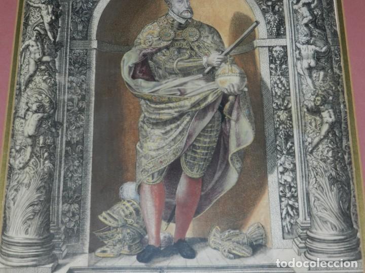 Arte: (M) ANTIGUO GRABADO COLOREADO A MANO S. XVI - XVII - MILITAR ESCRITO EN TINTA - CAROLUS QUINTUS ROMA - Foto 6 - 218400815