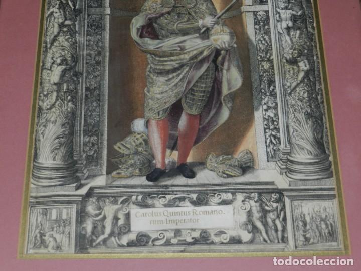 Arte: (M) ANTIGUO GRABADO COLOREADO A MANO S. XVI - XVII - MILITAR ESCRITO EN TINTA - CAROLUS QUINTUS ROMA - Foto 7 - 218400815