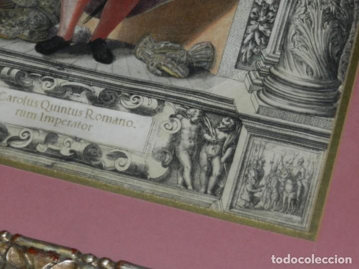 Arte: (M) ANTIGUO GRABADO COLOREADO A MANO S. XVI - XVII - MILITAR ESCRITO EN TINTA - CAROLUS QUINTUS ROMA - Foto 8 - 218400815