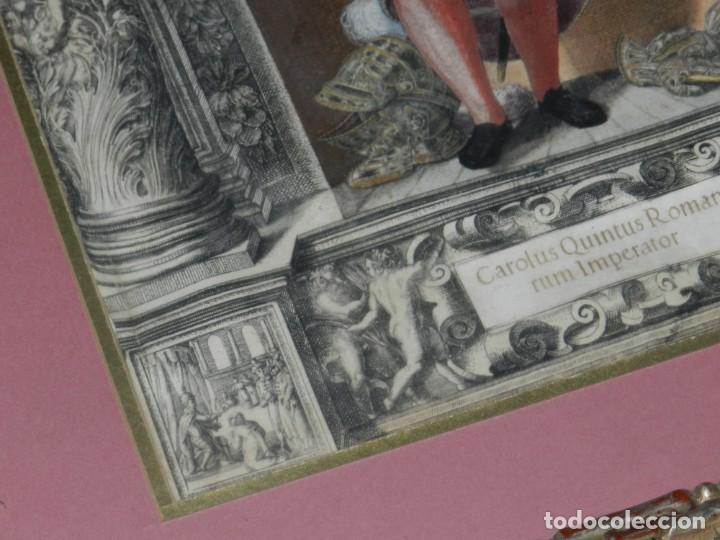 Arte: (M) ANTIGUO GRABADO COLOREADO A MANO S. XVI - XVII - MILITAR ESCRITO EN TINTA - CAROLUS QUINTUS ROMA - Foto 9 - 218400815