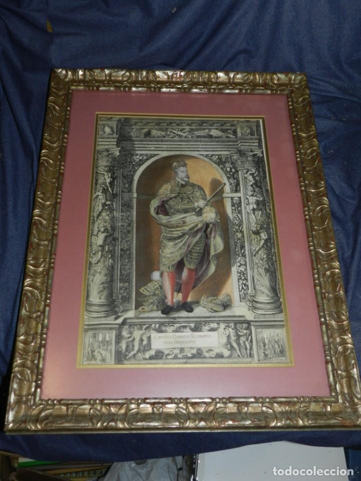 Arte: (M) ANTIGUO GRABADO COLOREADO A MANO S. XVI - XVII - MILITAR ESCRITO EN TINTA - CAROLUS QUINTUS ROMA - Foto 10 - 218400815