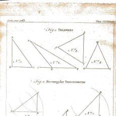 Arte: GRABADO INGLÉS ORIGINAL 1763. TRIANGLES TRIGONOMETRY TRIGONOMETRÍA. Lote 218507516