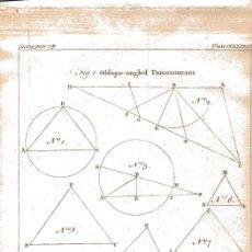 Arte: GRABADO INGLÉS ORIGINAL 1763. TRIGONOMETRY TRIGONOMETRÍA. Lote 218507866