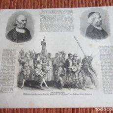 Arte: 1873-GRABADO ORIGINAL. COSSIERS DE ALARÓ. SAN ROQUE. GRANJEROS. MALLORCA. Lote 218513335