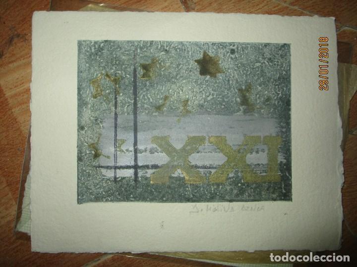 EXCELENTE OBRA DE ARTE ANTIGUO GRABADO FIN DE SIGLO MANUSCRITO A LAPIZ MOLINA AZNAR FIRMADO (Arte - Grabados - Contemporáneos siglo XX)
