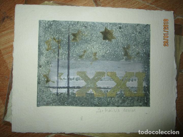 Arte: EXCELENTE OBRA DE ARTE antiguo grabado fin de siglo MANUSCRITO A LAPIZ MOLINA AZNAR firmado - Foto 3 - 218550987
