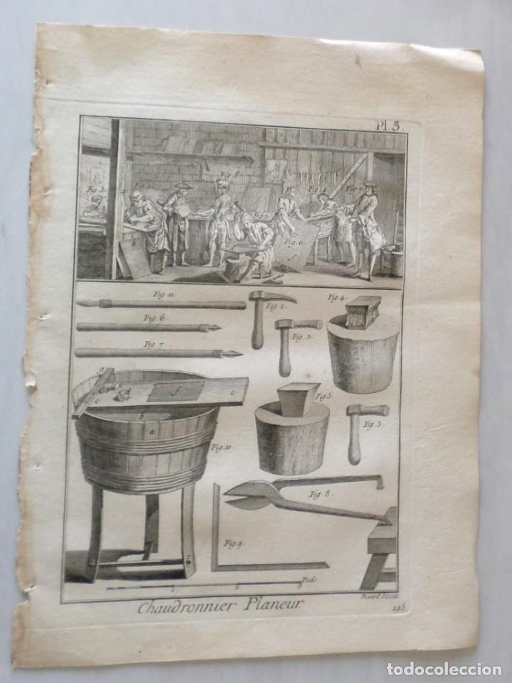 CALDERA DE PLANEADOR - CHAUDRONNIER PLANEUR - DIDEROT AÑO DE 1751 (Arte - Grabados - Antiguos hasta el siglo XVIII)