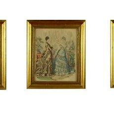 Arte: LA MODA ELEGANTE ILUSTRADA. LOTE DE TRES GRABADOS A COLOR. SIGLO XIX. MAGNÍFICO CONJUNTO. Lote 218706283