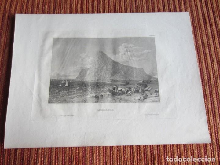1848-GRABADO ORIGINAL. VISTA DE GIBRALTAR. BARCOS DE PESCA (Arte - Grabados - Modernos siglo XIX)