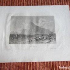 Arte: 1848-GRABADO ORIGINAL. VISTA DE GIBRALTAR. BARCOS DE PESCA. Lote 218775362