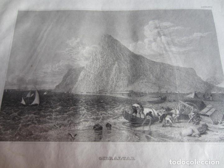 Arte: 1848-GRABADO ORIGINAL. VISTA DE GIBRALTAR. BARCOS DE PESCA - Foto 2 - 218775362