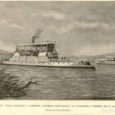 Arte: 1896 - MINDANAO - ISLAS FILIPINAS - LANCHAS CAÑONERAS EN LA LAGUNA LANAO - LA ILUSTRACIÓN ESPAÑOLA. Lote 218781272