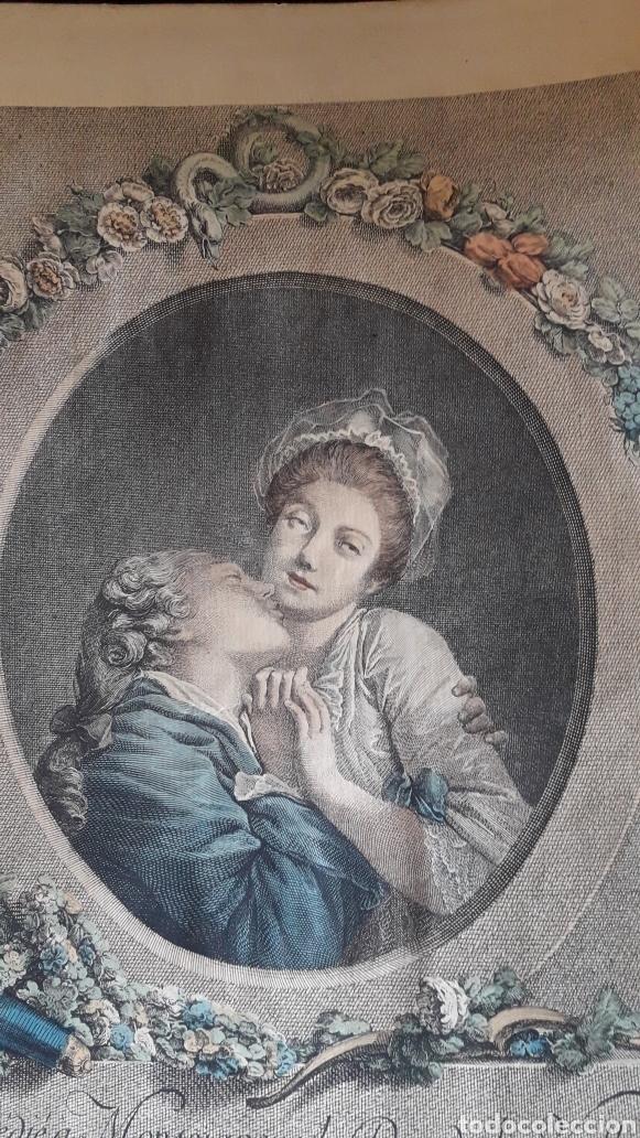 Arte: Antiguo grabado romántico, por Marchand - Foto 6 - 218790333