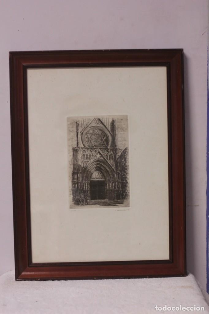 Arte: Grabado de V. Blanco. Catedral de Valencia. Firmado y numerado. 4/100. Enmarcado. 60x46cm - Foto 2 - 218790660