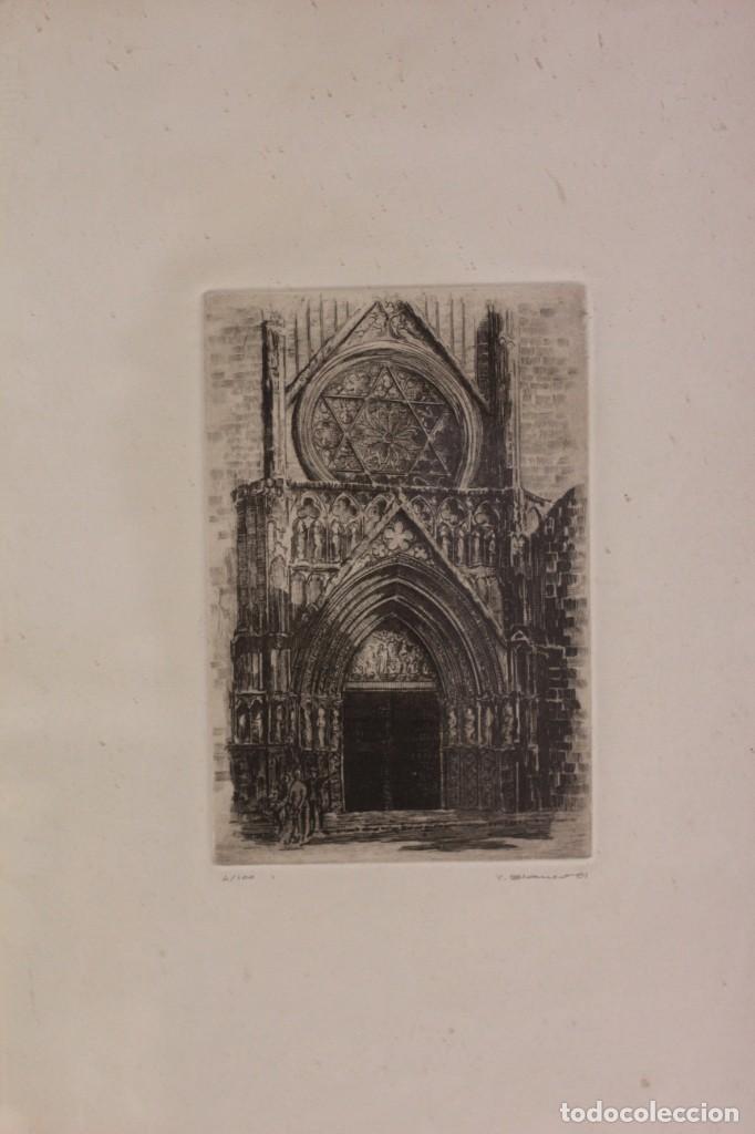 Arte: Grabado de V. Blanco. Catedral de Valencia. Firmado y numerado. 4/100. Enmarcado. 60x46cm - Foto 3 - 218790660