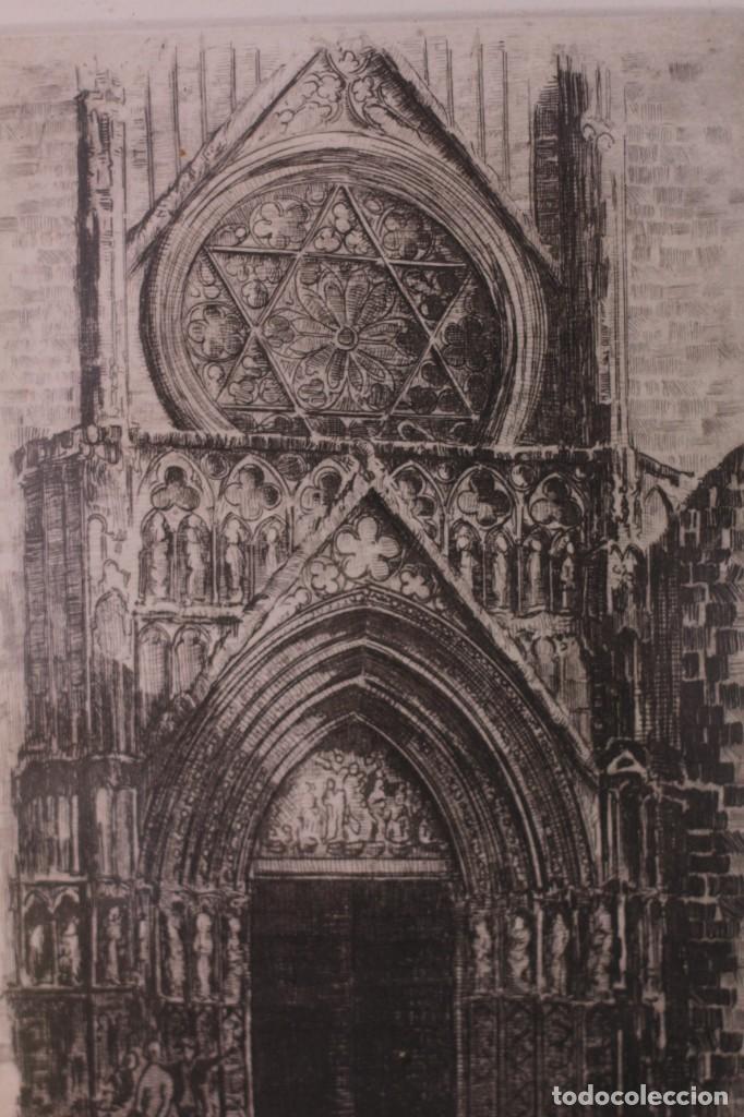 Arte: Grabado de V. Blanco. Catedral de Valencia. Firmado y numerado. 4/100. Enmarcado. 60x46cm - Foto 4 - 218790660
