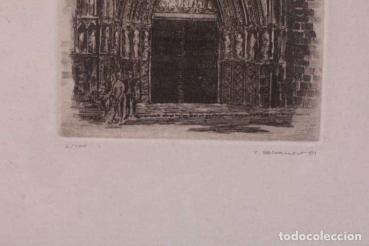 Arte: Grabado de V. Blanco. Catedral de Valencia. Firmado y numerado. 4/100. Enmarcado. 60x46cm - Foto 5 - 218790660