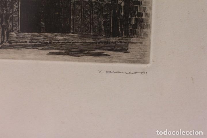 Arte: Grabado de V. Blanco. Catedral de Valencia. Firmado y numerado. 4/100. Enmarcado. 60x46cm - Foto 6 - 218790660