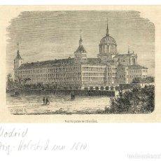 Arte: 1880 - PALACIO REAL EL ESCORIAL - MADRID - GRABADO SOBRE PLANCHA DE MADERA - PASSPARTOUT. Lote 218816428