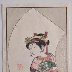Arte: EXCELENTE GRABADO ORIGINAL JAPONES DEL SIGLO XIX DEL MAESTRO KATSUKAWA SHUNCHO, KABUKI, BUEN ESTADO. Lote 210222440
