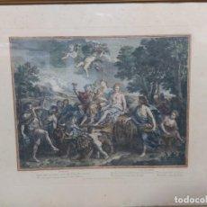 Arte: GRABADO COLOREADO FRANCES LA TERRE. Lote 219003563