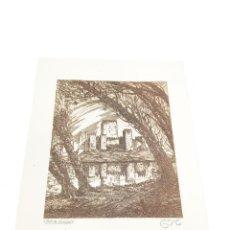 Arte: GRABADO/AGUAFUERTE DE CASTILLO OLVIDADO. CASTRO-GIL. 1891-1961. LUGO. GALLEGO.. Lote 219023327