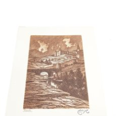 Arte: GRABADO/AGUAFUERTE DE VISTA DE TOLEDO DESDE EL RÍO TAJO. CASTRO-GIL. 1891-1961. LUGO. GALLEGO.. Lote 219023431