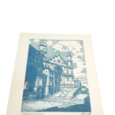 Arte: GRABADO/AGUAFUERTE DE LA COLEGIATA DE ALCAÑIZ. TERUEL. CASTRO-GIL. 1891-1961. LUGO. GALLEGO.. Lote 219023511