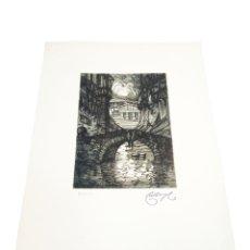 Arte: GRABADO/AGUAFUERTE PUENTE DE LA CIUDAD DE OVIEDO. CASTRO-GIL.1891-1961. LUGO.GALLEGO. 50X33 CM.. Lote 219023948