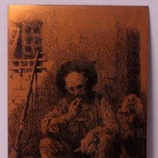 Arte: GRABADO TINTA RELIEVE SOBRE LÁMINA COLOR COBRE FIRMADO ROMAN 50X30CM. Lote 219085582