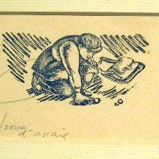 Arte: ENRIC C. RICART. JUGANDO A CANICAS. XILOGRAFIA. PRUEBA DE ESTADO. GRABADO 3X6,3 CMPAPEL 5,6X13,7 CM. Lote 219092397