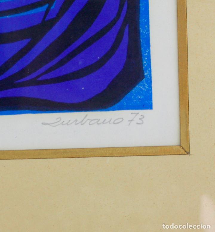 Arte: Pez azul, linóleo, 1973, grabado, firmado Zurbano, con marco. 26,5x19,5cm - Foto 2 - 219172311