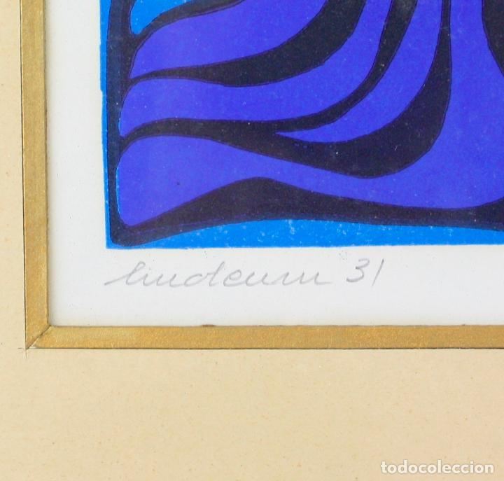Arte: Pez azul, linóleo, 1973, grabado, firmado Zurbano, con marco. 26,5x19,5cm - Foto 3 - 219172311