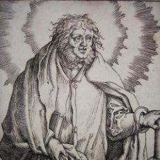 Arte: MARAVILLOSO Y RARÍSIMO GRABADO APÓSTOL SIMÓN, ORIGINAL ENTORNO 1610.JAN MULLER. SEGUIDOR VAN LEYDEN. Lote 219205790