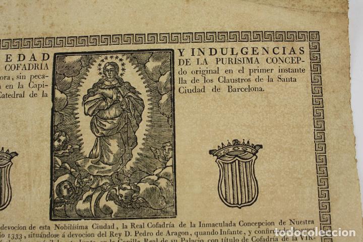 Arte: Indulgencia, real cofradía de la purísima concepción, siglo XVIII, Barcelona. 43x31,5cm - Foto 2 - 219275831