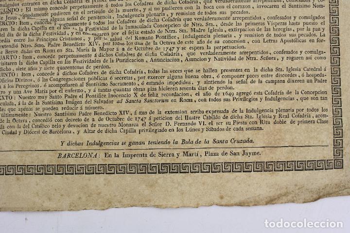 Arte: Indulgencia, real cofradía de la purísima concepción, siglo XVIII, Barcelona. 43x31,5cm - Foto 3 - 219275831