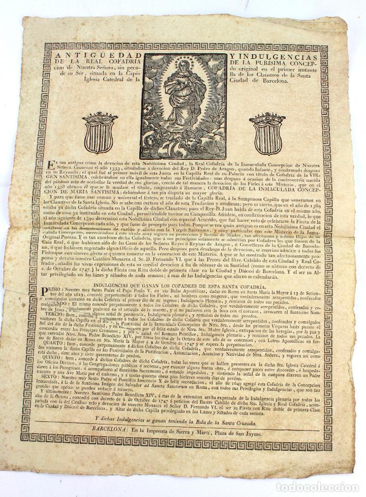 INDULGENCIA, REAL COFRADÍA DE LA PURÍSIMA CONCEPCIÓN, SIGLO XVIII, BARCELONA. 43X31,5CM (Arte - Grabados - Antiguos hasta el siglo XVIII)