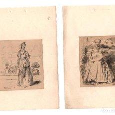 Arte: LOTE DE 5 GRABADOS DEL ARTISTA FRANCES JEAN-ANTOINE WATTEAU. 2ª ESTAMPACION. SIGLO XIX. Lote 219389927