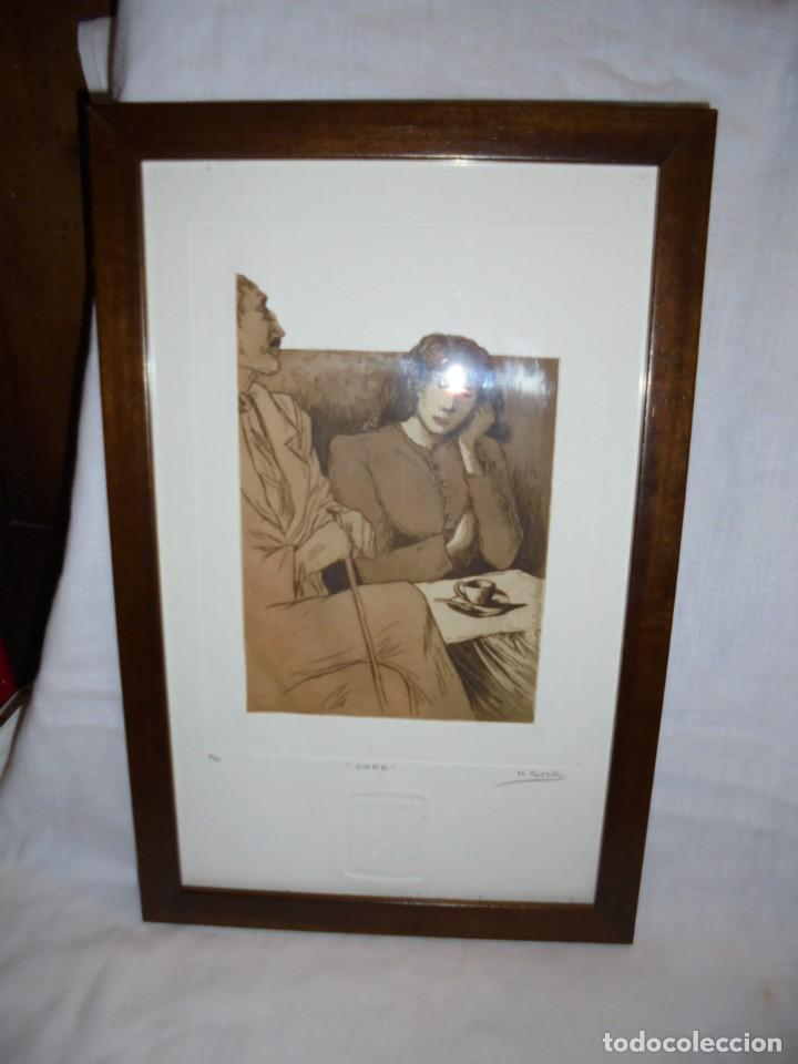 GRABADO M.CASTILLO TITULADO CAFE.PRUEBA DE ARTISTA (Arte - Grabados - Contemporáneos siglo XX)