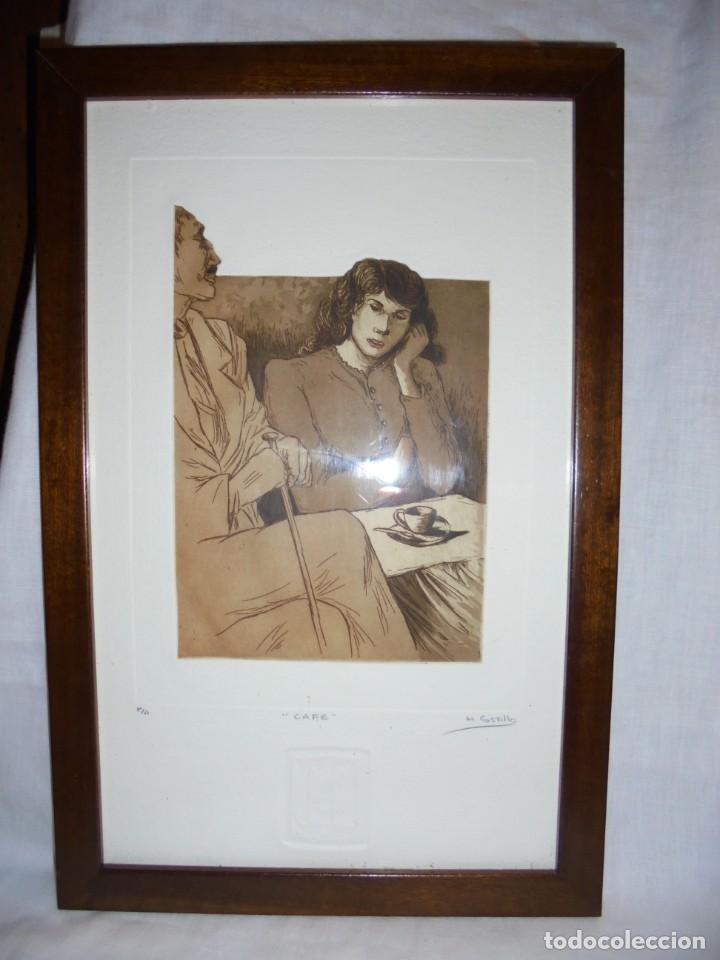 Arte: GRABADO M.CASTILLO TITULADO CAFE.PRUEBA DE ARTISTA - Foto 2 - 219444416