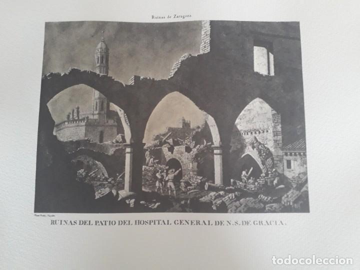 Arte: GRABADO RUINAS DE ZARAGOZA. PATIO DEL HOSPITAL DE NUESTRA SEÑORA DE GRACIA. 57 CM POR 48 CM.1975 - Foto 2 - 219448638