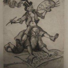 Arte: JOSEP ARAGAY. AGUAFUERTE. PASA LA JUVENTUD. 1951. IMAGEN 16,5 X 14,5 CM; PAPEL 23,5 X 17,5 CM. Lote 219466042