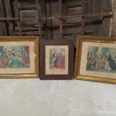 Arte: LOTE DE 3 GRABADOS COLOREADOS CON ESCENAS COTIDIANAS DE ÉPOCA. SIGLO XVIII-XIX.. Lote 219485098