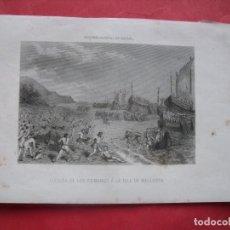 Arte: LLEGADA DE LOS ROMANOS A LA ISLA DE MALLORCA.-GRABADO.-GRABADO AL ACERO.-MALLORCA.-SIGLO XIX.. Lote 219519073