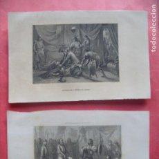 Arte: MUERTE DE PEDRO EL CRUEL.-FERNANDO III EL SANTO.-REYES.-GRABADOS.-LECHART.-JANET.-SIGLO XIX.. Lote 219524366